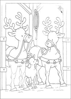 Christmas Coloring Pages - Reindeers Christmas Coloring Pages, Coloring Book Pages, Printable Coloring Pages, Coloring Sheets, Christmas Colors, Kids Christmas, Christmas Crafts, Reindeer Christmas, Free Coloring