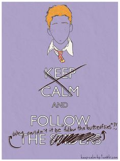 """Keep calm and follow the spiders. Why couldn't it be """"follow the butterflies""""?!"""