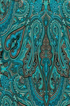 Aqua and Brown Paisley Shades Of Turquoise, Turquoise Color, Teal Blue, Shades Of Blue, Brown Teal, Paisley Pattern, Paisley Print, Paisley Fabric, Textures Patterns