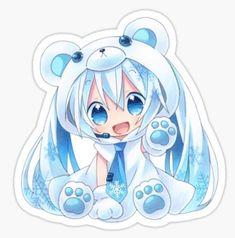 Kawaii Bear girl anime Sticker manga cute baby children bear japanese