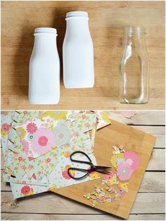 Decoupage and Painted Milk Bottles Diy Bottle, Wine Bottle Crafts, Jar Crafts, Bottle Art, Starbucks Bottle Crafts, Starbucks Bottles, Garrafa Diy, Decoupage Jars, Bottles And Jars