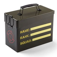 """Make lunch a special occasion with this Ammo Lunch Box. Other people have """"lunch"""", but you can wage an all-out war on hunger with ammo box styled lunch box.  This metal lunch box is styled to look like an ammo box. It is made from sturdy tin and is the manliest lunchbox around. It ha"""