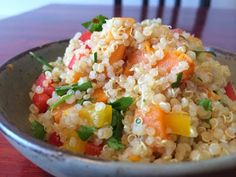 Quinoa Sweet Potato Salad - this is super healthy, vegan, and packed with veggies. Make it ahead of time and bring it to a potluck, throw it in your bag for a snack, or just enjoy with dinner. Www.alifewithouticecream.com