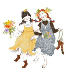 Lee S. Hee ~ Anne of Green Gables ~ Diana and Anne Belle And Boo, Illustration, Drawings, Watercolor Print, Cute Images, Art, Book Girl, Illustration Girl, Cute Illustration