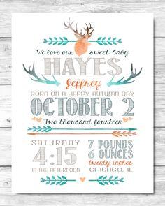 Baby Boy Stats Print - Antlers & Arrows - Birth Announcement - Newborn - Orange Aqua Teal Blue Navy Olive - Custom - Personalized Printable by EmeraldAvenueDesigns on Etsy https://www.etsy.com/listing/230798422/baby-boy-stats-print-antlers-arrows