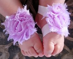Soft Lavender Baby Girls Barefoot Flower Sandals