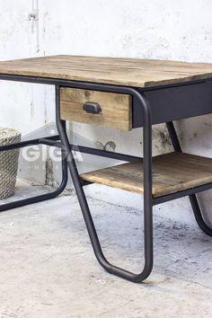 Industrieel New Vintage Bureau Wood Hout Metaal
