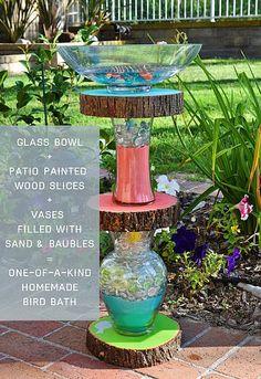 Homemade Bird Bath #decoartprojects #patiopaint