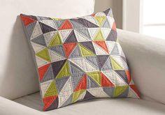 Geometric print pillow pattern sewn with FreeSpirit fabrics and Coats sewing threads.