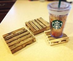 Popsicle stick pallet drink coasters - Adorable!