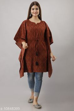 Kaftans Alisha Jaipuri Maroon Traditional Printed Cotton Kaftan Fabric: Cotton Sleeve Length: Three-Quarter Sleeves Pattern: Printed Multipack: 1 Sizes: S (Bust Size: 38 in)  XL (Bust Size: 44 in)  L (Bust Size: 42 in)  M (Bust Size: 40 in)  XXL (Bust Size: 46 in)  Country of Origin: India Sizes Available: S, M, L, XL, XXL *Proof of Safe Delivery! Click to know on Safety Standards of Delivery Partners- https://ltl.sh/y_nZrAV3  Catalog Rating: ★4 (1212)  Catalog Name: Stylish Partywear Women Kaftans CatalogID_2001379 C79-SC1009 Code: 243-10848395-
