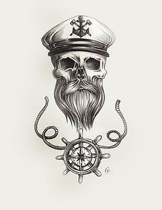 Nautical bearded Skull by Jasmine Mills