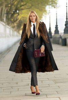 I like the coat, matching shoes and purse.