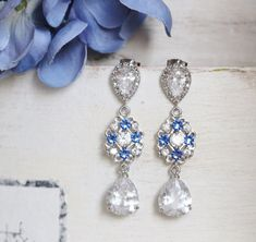 Blue Bridal Earrings, Blue Wedding Earrings, #weddingjewelry #bridaljewelry #weddingearrings #bridalearrings #bluebridalearrings #bluewedding #blueweddingearring #blueearrings #swarovskiearrings #blueearringwedding #sapphireblue #somethingblue #bridalearringsblue