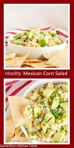 Healthy Mexican Corn Dip made with creamy Greek Yogurt. VIa @samanthakment
