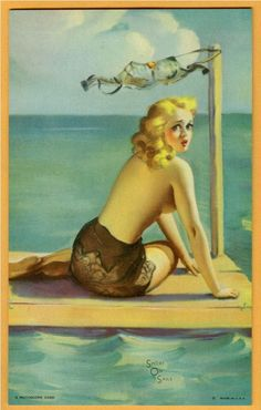 Short on Sails postcard /// Gil Elvgren