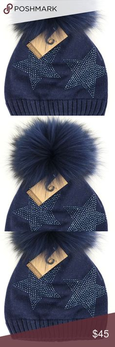 CC Black Label Star Rhinestone Beanie You will be seeing stars in these new Black Label Star Rhinestone beanie with a matching fur pom, because they are so cute.  They are adorned with tars to accent all of your trendy outfits for winter!  www.hailjax.com Fabulous.Affordable.Fashion Crane Clothing Co Accessories Hats