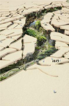 ¿Un parque de 125.000 metros cuadrados en el desierto? Si, pero a cubierto del Sol El estudio de arquitectura Heatherwick acaba de anunciar...