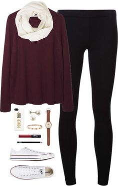 fall breakkk by classically-preppy featuring infinity scarves ❤ liked on Polyvore Hope purple shirt / James Perse black legging / Converse sneaker, $77 / J Crew vintage watch / Fine jewelry / Rose...