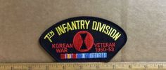 US Army - 7th Infantry Div. – Korean War - Veteran 1950 – 53 Embroidered Patch