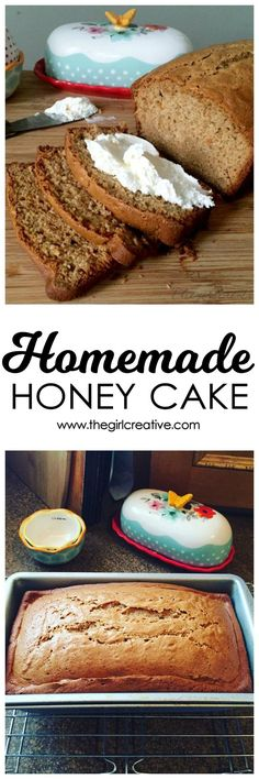 This delicious honey cake is perfect with whipped cream cheese on top. It's so good you won't be able to control yourself. Makes a wonderful breakfast or dessert food.