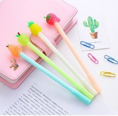 1 PCS New Cute Fresh Fruit Pineapple Apple Pen Creative Gel Pens Signing Pen For Kids Novelty Gift Stationery School Supplies Stationery Pens, Kawaii Stationery, Office Stationery, Cool Stationary, Cool School Supplies, Cute Stationary School Supplies, Office Supplies, Kawaii Pens, Cute Pens