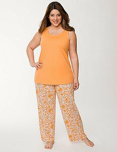 Sweet & sassy 2-piece sleep set makes any night brighter! We topped off our animal print sleep pants with a sultry, lace-back tank for a touch of feminine elegance. #LaneBryant #Cacique