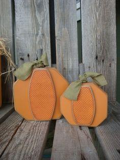 Primitive Autumn Decor | Primitive Pumpkin Block Set . . . Autumn Fall Halloween Thanksgiving ...