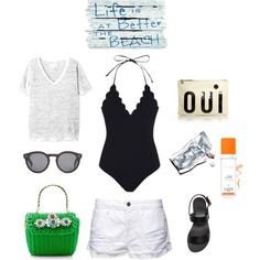 Packing for a summer weekend by stephanie-unter on Polyvore featuring Nili Lotan, Marysia Swim, Frame Denim, Ancient Greek Sandals, Clare V., Illesteva, Summer, summeroutfit and july4th