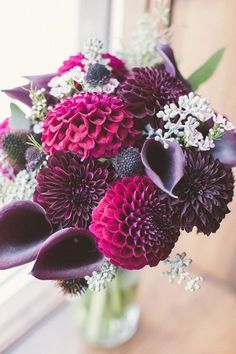 Photo: Katy Gray Photography; Daydreaming of Dahlias: Romantic Floral Wedding Ideas - bridal bouquet; Katy Gray Photography
