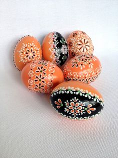 Set of 6 Orange Hand Decorated Colours Painted Chicken Easter Egg, Traditional…