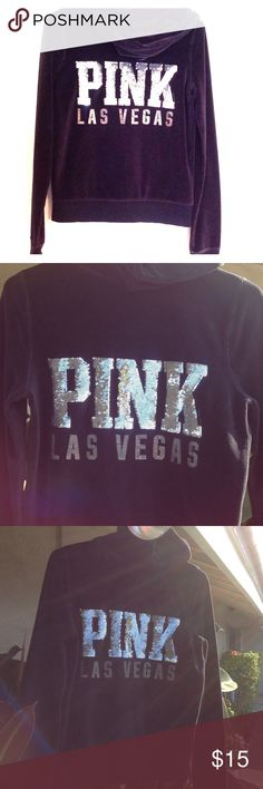 """💝💜VS Black Bling Velour Hoodie💝💜 VS Pink brand hoodie in Black with silver sequin bling, size small, classy velour fabric. Sequins are perfect, there is some cracking in the words """"Las Vegas"""", but overall great condition. PINK Victoria's Secret Tops Sweatshirts & Hoodies"""
