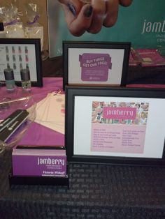 Facts about Jamberry Nails and business cards. On the left you can see I displayed some laquer. I thought it was important to show that there are other products.