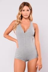 We're Living Romper - Heather Grey