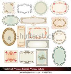 vintage label - card - frame - antique - vector - stock vector