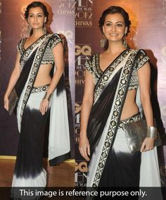 Dia Mirza Georgette Border Work Black & White Bollywood Style Saree - 9151 at Rs 2110