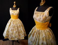 Amazing 1950's yellow chiffon and taffeta floral rose print new look party  prom cocktail dress rockabilly swing chic - size Small. $198.00, via Etsy.