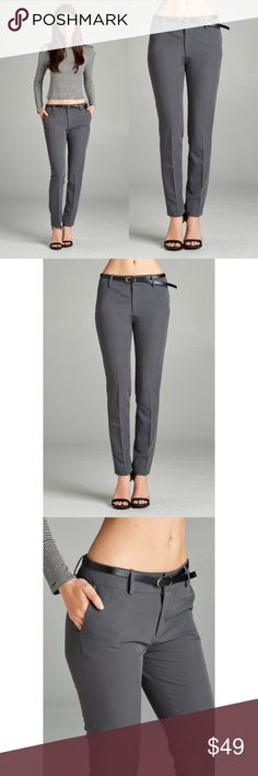 🆕 Classic Ankle Pants - Gray Perfect addition to any work wardrobe! Has pockets and comes with the belt. 80% Polyester 15% Rayon 5% Spandex. No trades. Kyoot Klothing Pants Ankle & Cropped