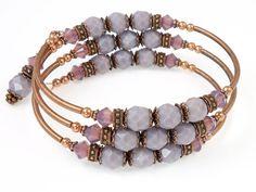 Wrap Memory Wire Bracelet Purple Jewelry by OstaraMoonJewelry