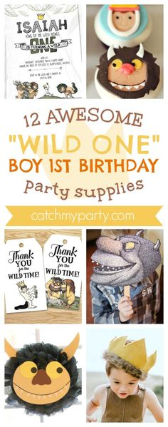 12 Awesome Wild One Where The Wild Things Are Boy 1st Birthday Party Supplies | CatchMyParty.com #wildonepartysupplies #partysupplies #wherethewildthingsare