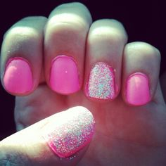 Hot pink and glitter nails!:)
