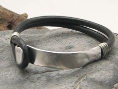 black bracelet leather with silver