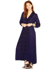 Free People Three-Quarter-Sleeve Embroidered Maxi Dress - Dresses - Women - Macy's