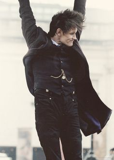 Matt Smith as the Doctor in the 50th Anniversary :) Look at his fabulous hair blowing in the wind.