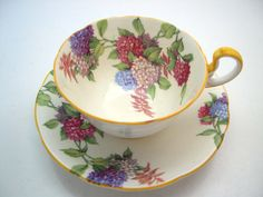 Antique Aynsley Hydrangea Tea Cup And Saucer, English tea cup set, Yellow teacup…