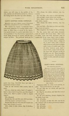 1864 Godey's. Knitted petticoat in scarlet and white wool.
