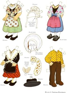 French boy and girl* 1500 free paper dolls at artist Arielle Gabriel's The… Paper Toys, Paper Crafts, French Costume, French Boys, Paper Doll House, Dress Up Dolls, Free Paper, Pattern Art, Traditional Outfits