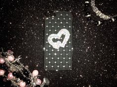 Black Leather Bling Hearts  Iphone 5 case by CandyBlingMachine, $10.00