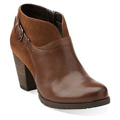 "Clarks Mission Parker | Women's - Brown Leather/Brown Suede (3"" heel)"