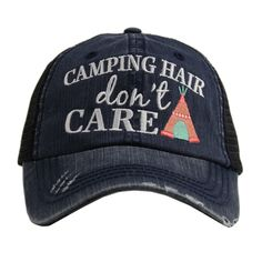 """Camping Hair Don't Care"" Trucker Hat"